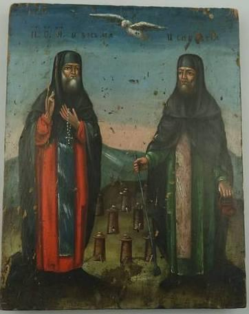 Ікона Зосима і Саватій 19 століття Покровителі бджолярів