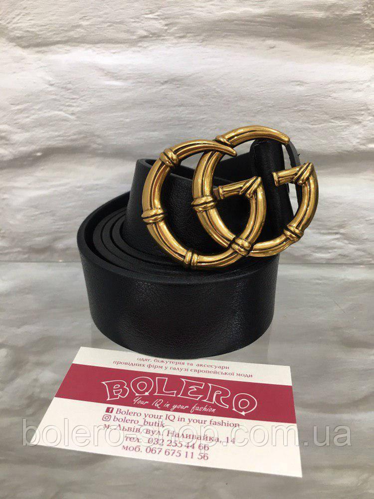 Черный кожаный ремень с пряжкой-кольцом