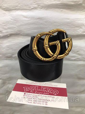Черный кожаный ремень с пряжкой-кольцом, фото 2