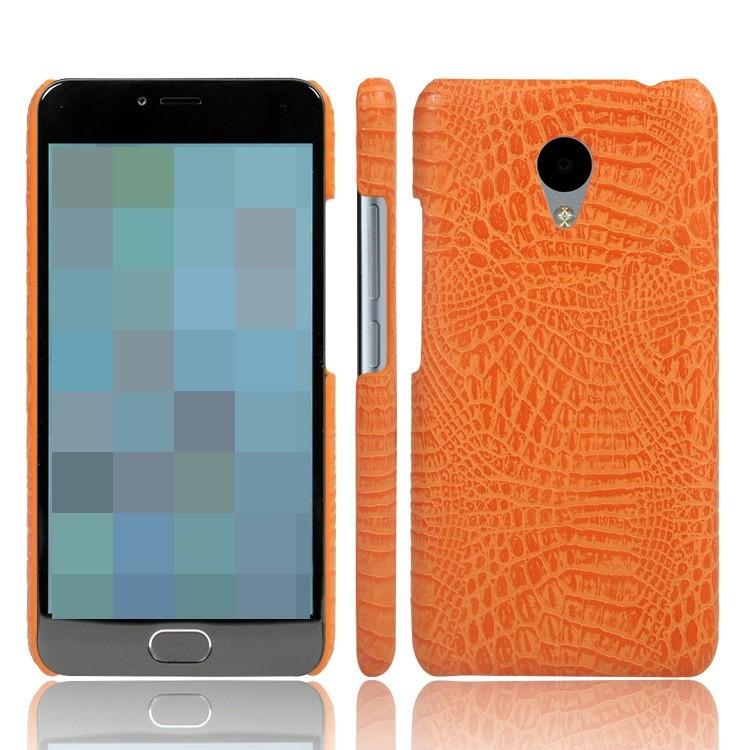 Кожаный чехол-накладка с имитацией кожи крокодила для Meizu M5 Оранжевый