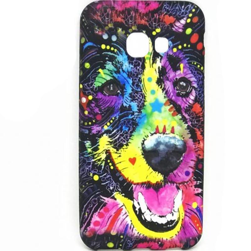 Чехол-накладка Animals Night light для Samsung A320 Galaxy A3 (2017) Собака