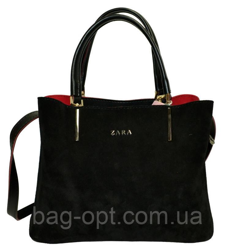 Женская сумка черная из натуральной замши Zara (23*30*13)