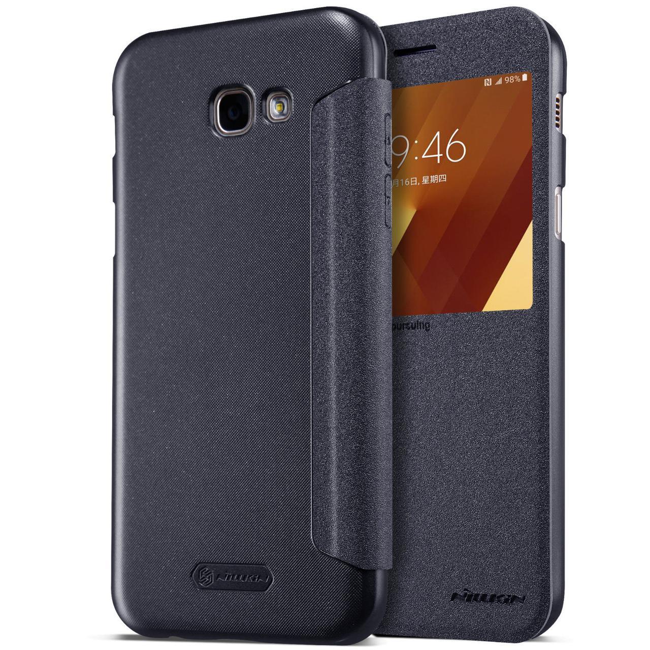Кожаный чехол (книжка) Nillkin Sparkle Series для Samsung A520 Galaxy A5 (2017) Черный