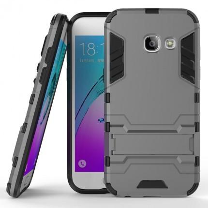Ударопрочный чехол-подставка Transformer для Samsung G570F Galaxy J5 Prime с мощной защитой корпуса Металл / Gun Metal