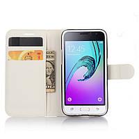 Чехол-книжка Litchie Wallet для Samsung Galaxy J1 2016 (J120) Белый