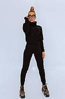 Черный женский вязаный костюм, фото 1