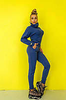Вязаный женский костюм василькового цвета, фото 1