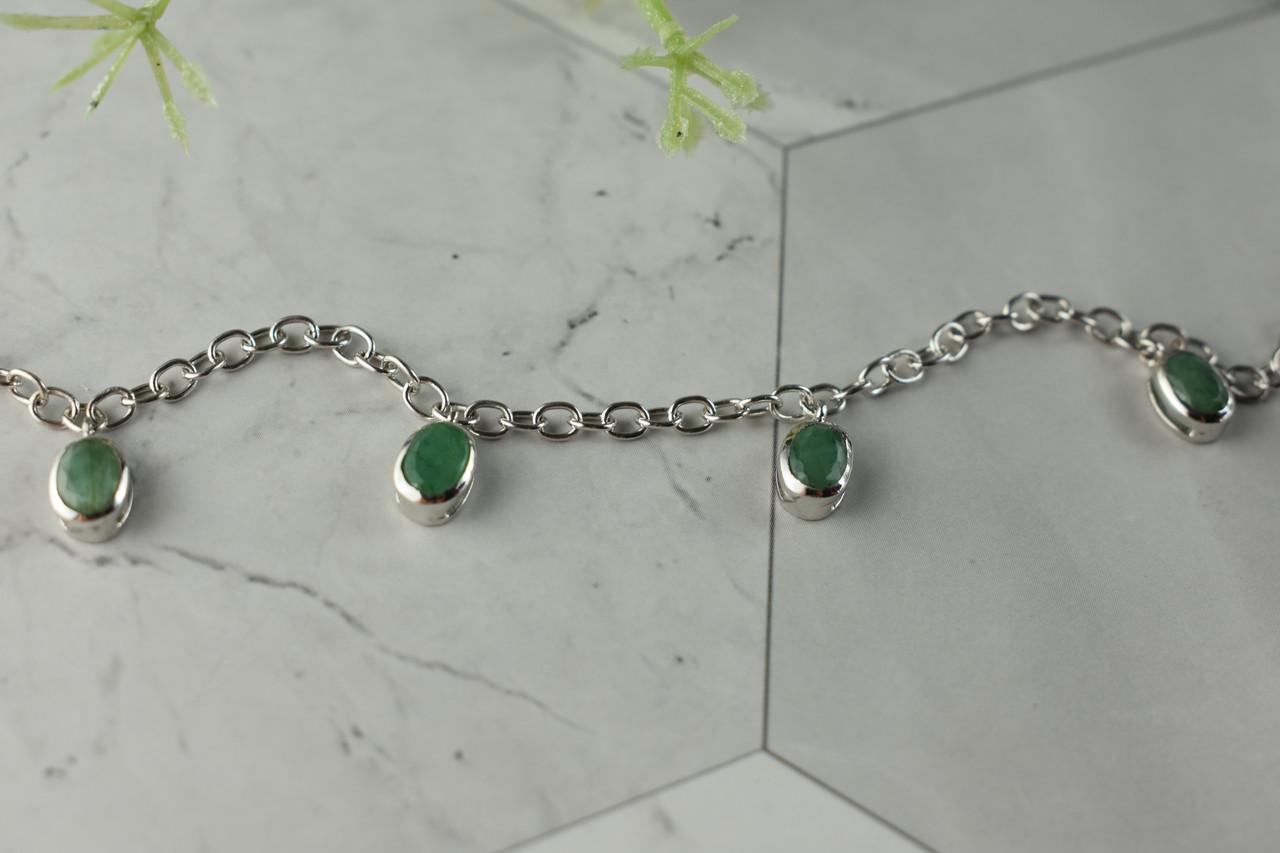 Серебряный браслет  925 проба с зеленым Жадеитом