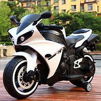 Детский электромобиль Мотоцикл M 4069 L-1, Yamaha R1, Кожаное сиденье, LED подсветка, белый