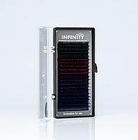 Ресницы INFINITY Ombre  CC 0.07 Mix  4 цвета (синие,зеленые,красные,фиолетовые)  12mm
