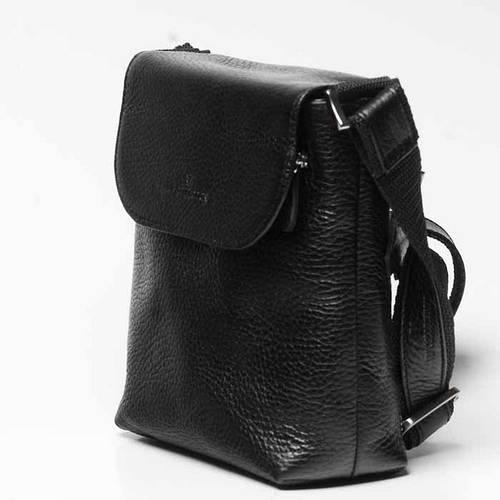 Сумка кожаная мужская Vip Collection 1431A flat черная