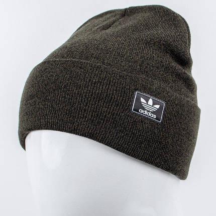 Молодежная шапка Рожки Adidas (реплика) темный хаки, фото 2