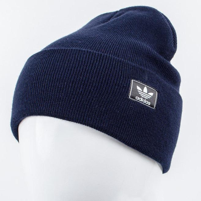Молодежная шапка Рожки Adidas (реплика) темно синий