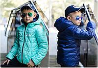 Двусторонняя осенняя детская куртка для мальчика и девочки в стиле Fila 7 8 9 10 11 12 лет плащевка