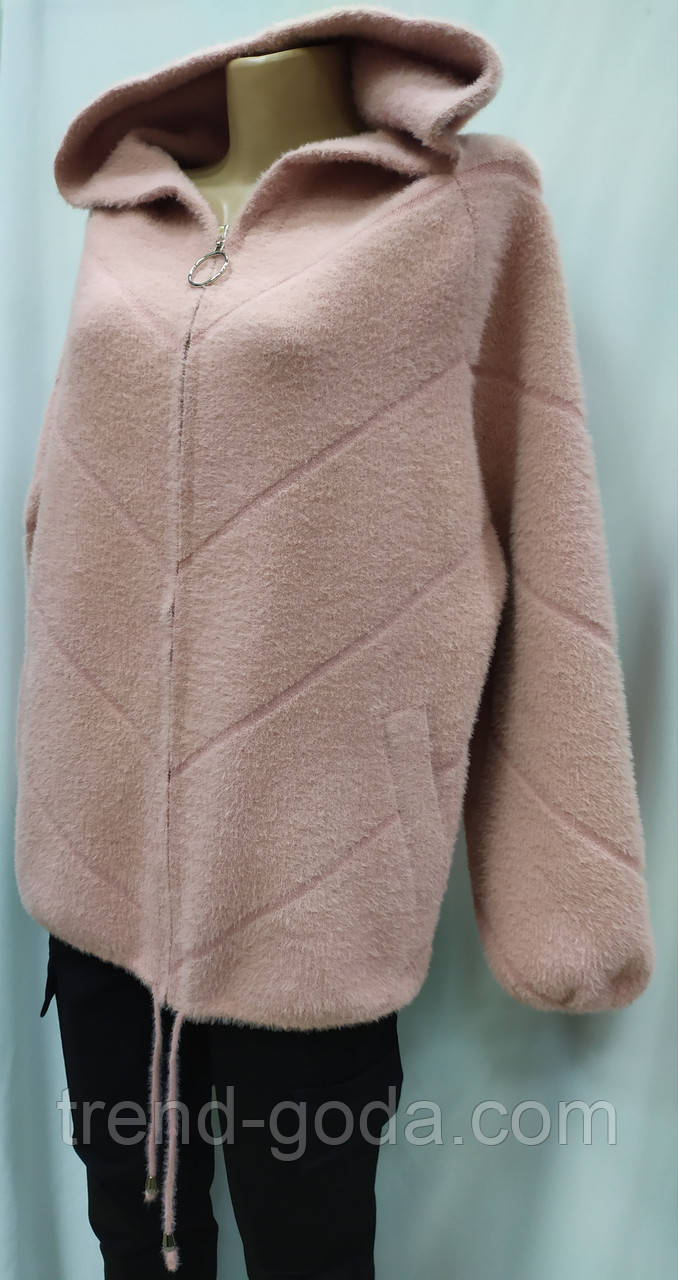 Кофта ангора на молнии с капюшоном, розового цвета