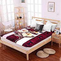 Велюровый плед на диван 160х220 Vitas Лилия, Бордовый, 160х220