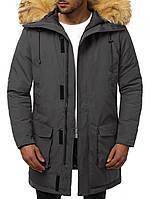 Очень теплая парка мужская зимняя черная. Размеры S, M, L, XL. Куртка удлиненная теплая курточка