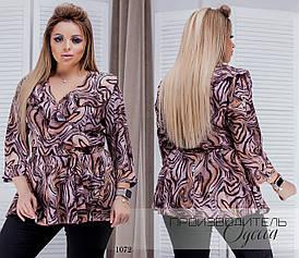 Блуза на запах рюш принт софт 50-52, 54-56