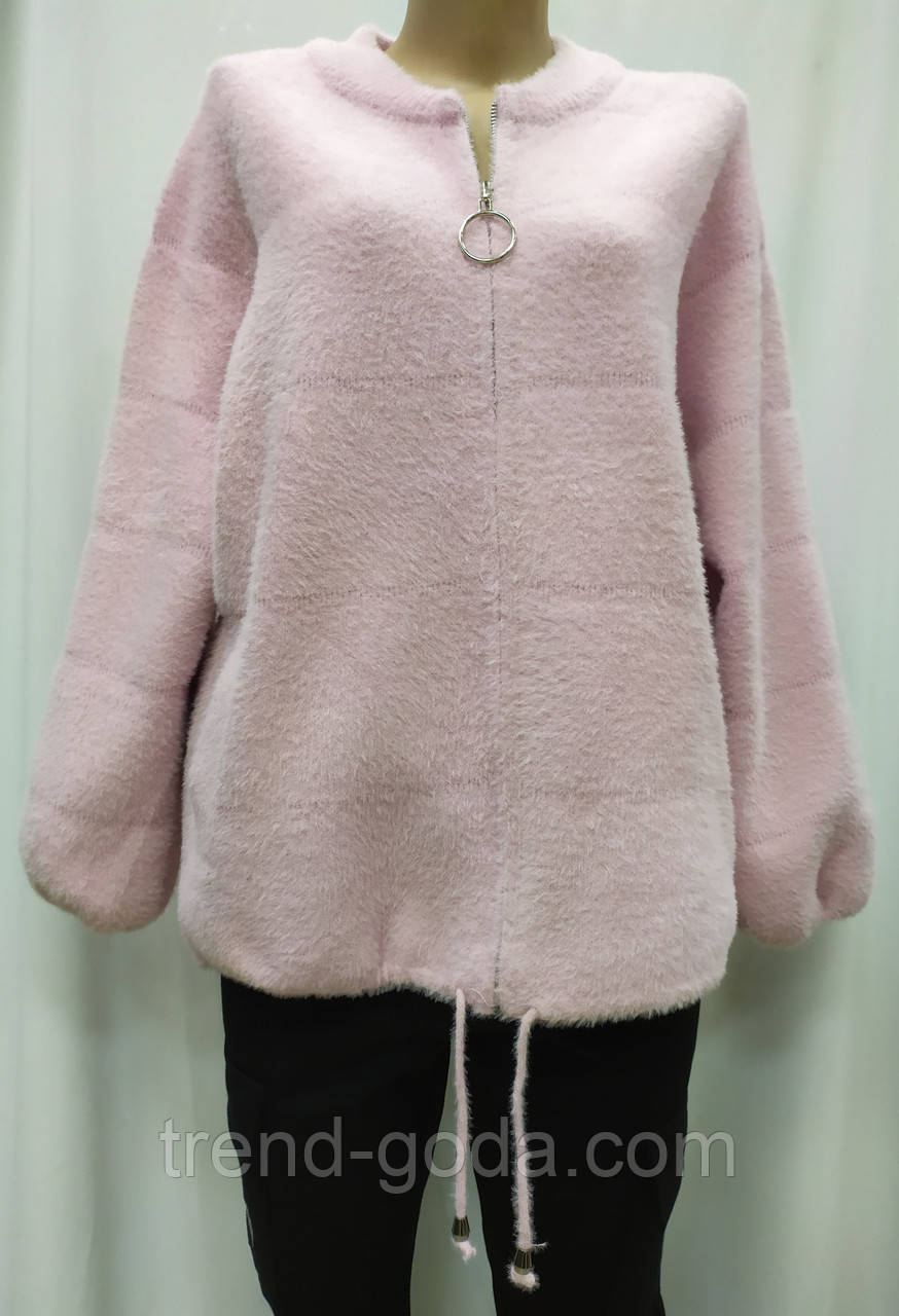 Кофта ангора на молнии розовая, осень/зима