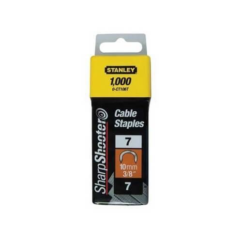 Скобы для степлера 10 мм тип 7 STANLEY (1-CT106T), полукруглые, для крепления кабеля, 1000 шт.