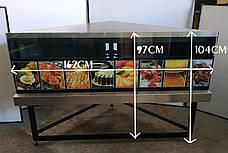 Б/у Угловой Стол производственный из нержавеющей стали, треугольный 162см*113см*104см, фото 2