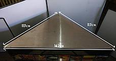 Б/у Угловой Стол производственный из нержавеющей стали, треугольный 162см*113см*104см, фото 3