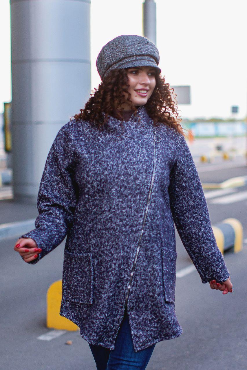 Модный женский кардиган меланжевой расцветки из букле на косой змейке, супер батал большие размеры