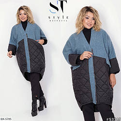 Стильне жіноче осіннє комбіноване стеганное пальто кокон, батал великі розміри