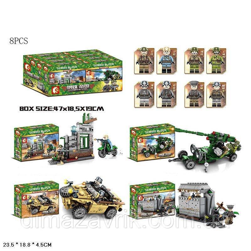 "Конструктор Sembo 101205-08 (Аналог Лего Lego) ""Военный транспорт база"" 4 вида 170+ деталей"