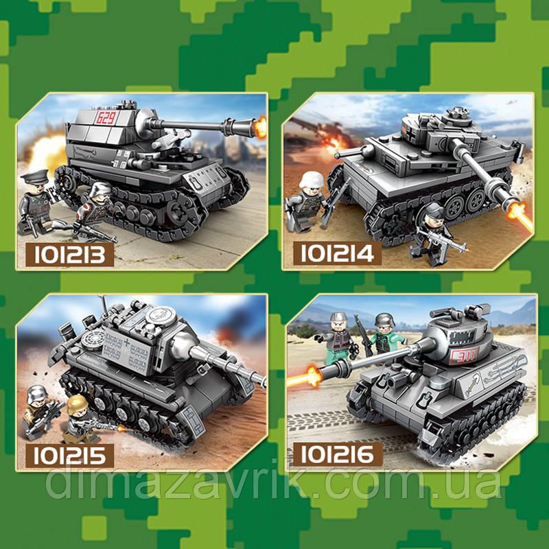 """Конструктор Sembo 101213-16 (Аналог Лего Lego) """"Военные танки"""" 4 вида 233+ деталей"""
