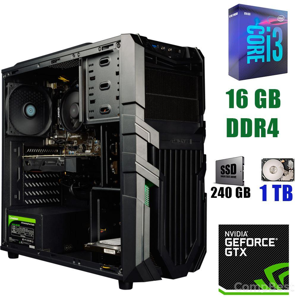 Raidmax Vortex V5 405WB Black / Intel Core i3-9100 (4 ядра по 3.6 - 4.2GHz) / 16 GB DDR4 / 240 GB SSD+1000 GB HDD / 500W / GeForce GTX 1660 6 GB