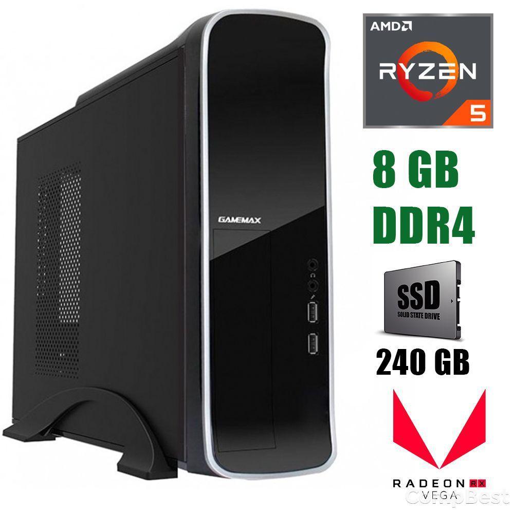 GameMax ST610G / AMD Ryzen 5 3400G (4(8)ядра по 3.7-4.2GHz) / 8 GB DDR4 / 240 GB SSD / БП 300W