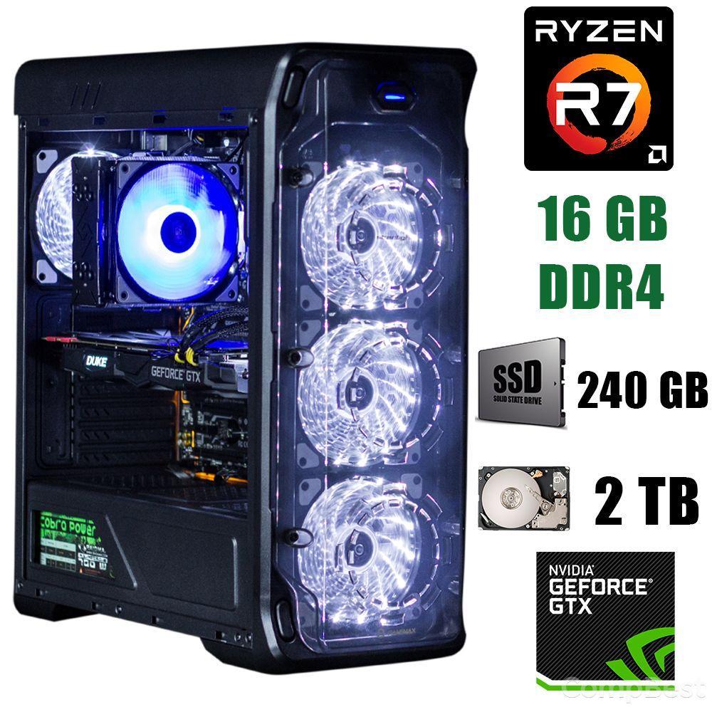 GameMax StarLight B-White / AMD Ryzen 7 2700 (8(16)ядер по 3.2 - 4.1GHz) / 16 GB DDR4 / 240 GB SSD+2000 GB HDD / БП 500W / GeForce GTX 1660 6GB GDDR6