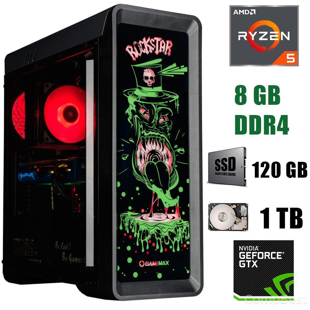GameMax RockStar / AMD Ryzen 5 1400 (4(8)ядра по 3.2-3.4GHz) / 8 GB DDR4 / 120 GB SSD+1000 GB HDD / БП 500W / GeForce GTX 1060 3GB GDDR5 192bit