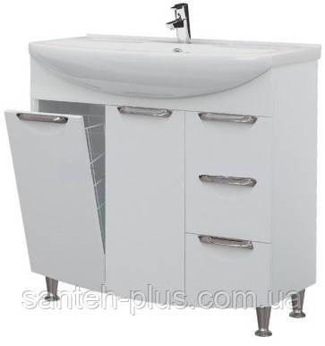 Тумба для ванной комнаты с корзиной для белья Грация Т17 К с умывальником Изео-85, фото 2