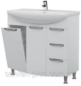 Тумба для ванной комнаты с корзиной для белья Грация Т17 К с умывальником Изео-85