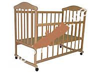 Детская кроватка деревянная на колеесах, качалка, опускаются боковинки Николаев-Кроваточка