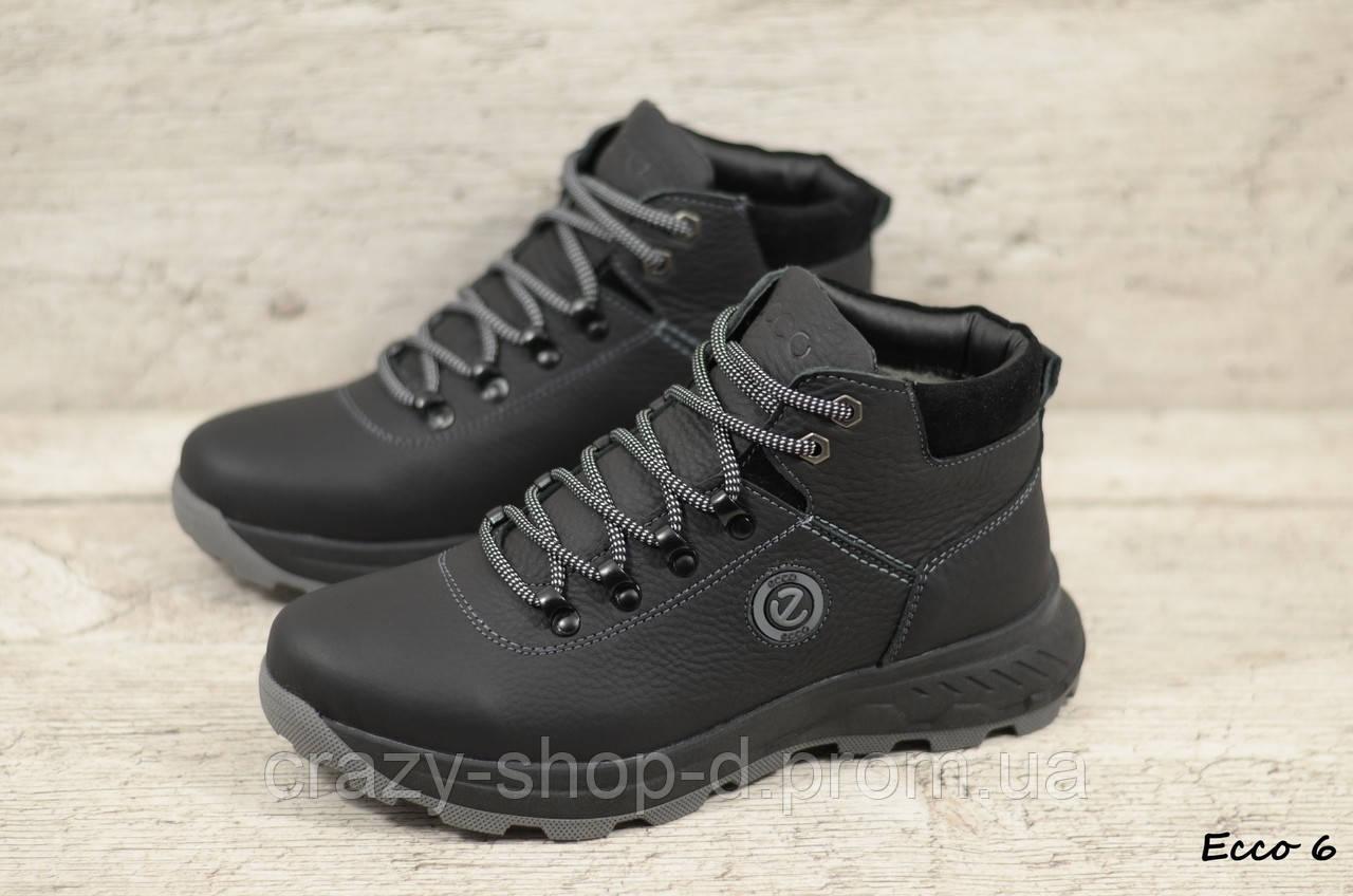 Мужские кожаные зимние ботинки Ecco (Реплика) (Код: Ecco 6  ) ►Размеры [40,41,42,43,44,45]