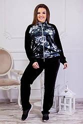 Женский велюровый спортивный костюм черный 8208