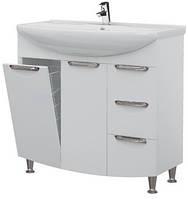 Тумба для ванной комнаты с корзиной для белья Грация Т17К с умывальником Изео-95