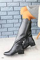 Женские зимние сапоги-европейка из натуральной кожи, графит