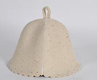 Шапка для бани и сауны войлочная колокольчик белая