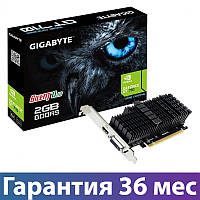 Видеокарта GeForce GT710, Gigabyte, 2 Гб DDR5, 64-bit, Silent (GV-N710D5SL-2GL), низкопрофильная, відеокарта