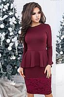 Платье женское француз+гипюр бордо, фото 1