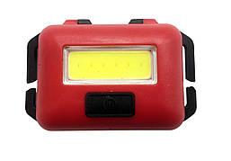 Ліхтарик налобний LED COB 10W (реал.3-5W) червоний пласт(3реж.+стробоскоп+ремешок 3*ААА) (T89) R