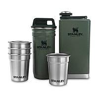 Набор Stanley Adventure (10-01883-034) 0.23L+ 4рюмки+ стальной кейс с кришкой для рюмок зеленый, белый, черный