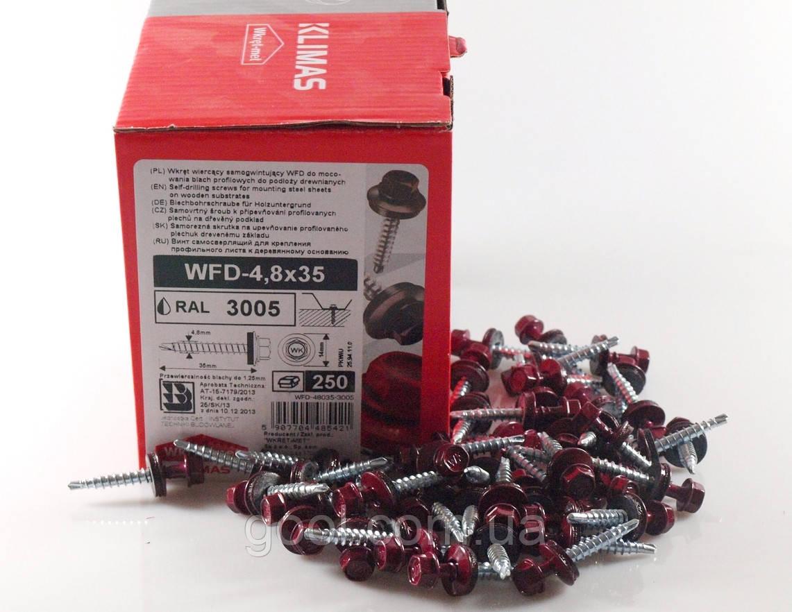 Кровельные саморезы для профнастила и металлочерепицы к дереву 4,8х35 мм Wkret-Met WFD Польша RAL 3005