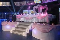 Оформление цветами, украшение зала тканями, свадебное оформление шарами, декорациями