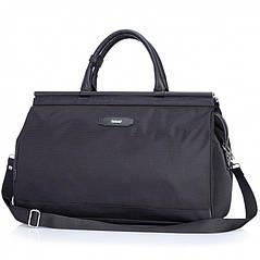 Классическая дорожная сумка – саквояж  с плечевым ремнем Долли 250 (черный, темно-синий, серый)