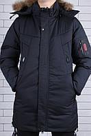 Подростковая курточка на мальчика мех на капюшоне